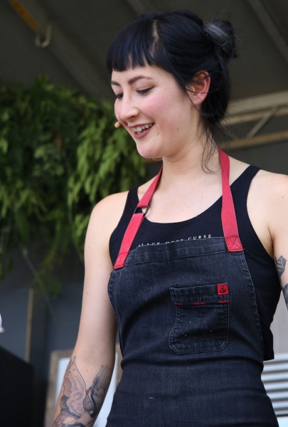 Pastry Chef Maya Erickson from Lazy Bear restaurant in SF at the Williams-Sonoma Culinary stage at Bottlerock 2016. Heather Irwin