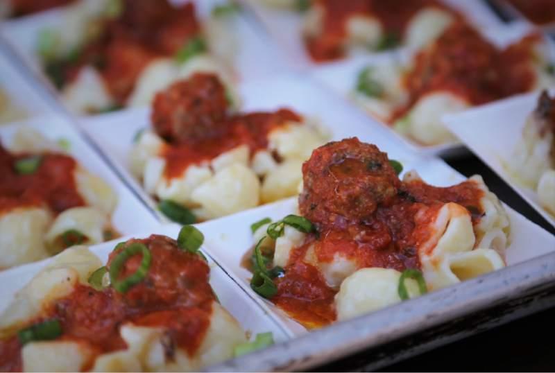Macaroni and meatballs prepared by Chef John Franchetti