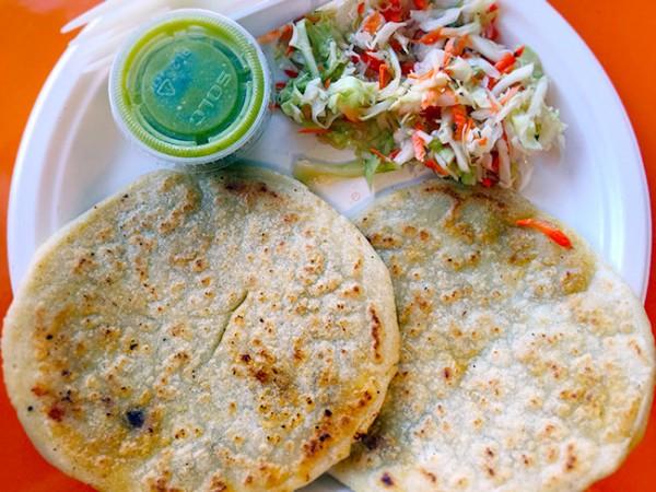 Pupusas and curtido at Homemade Tortilla in Santa Rosa, CA. (Heather Irwin / The Press Democrat)