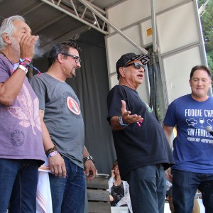 Tommy Chong, Chef Chris Cosentino, Cheech Marin and emcee Liam Mayclem the Foodie Chap at BottleRock 2016. Heather Irwin.
