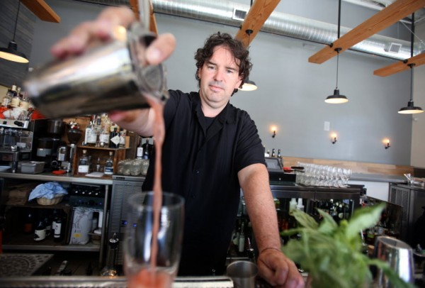 A Spiritworks Sloe 75 made by bar manager Fred Johnson at Zazu Kitchen and Farm in Sebastopol, Friday, {month name} 27, 2014.(Crista Jeremiason / The Press Democrat)