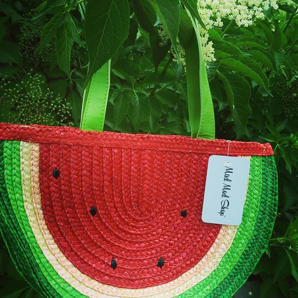 Be the hit of the farmer's market when you stroll the streets with this life-size watermelon straw purse