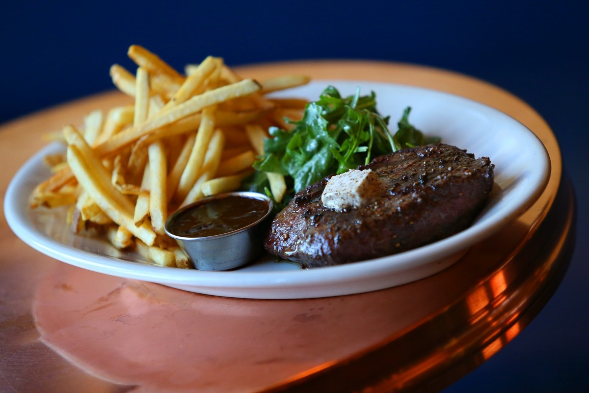 Flat Iron Steak Frites at Underwood Bar and Bistro, in Graton. (Christopher Chung/ The Press Democrat) Underwood Bar & Bistro