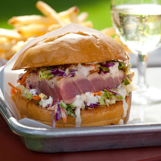 A photo of the Ahi tuna burger at Gott's Roadside © Michael Lamotte via Food & WIne
