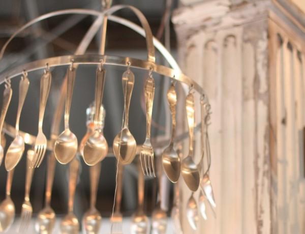 Vintage Utensils Light Fixture