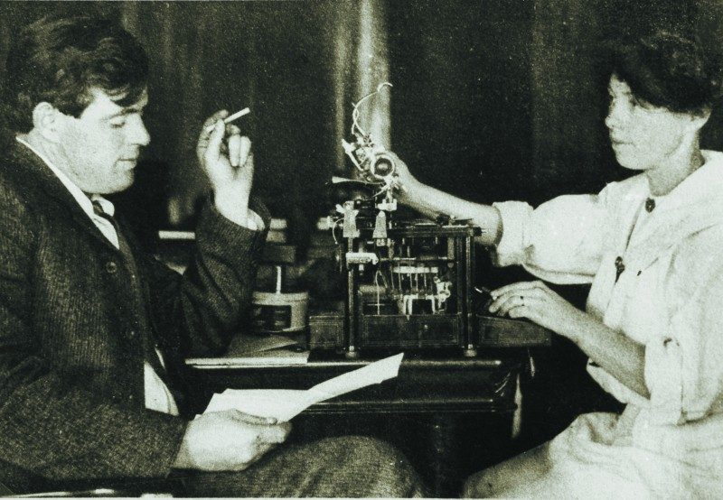 Jack London and Charmian London working together at their Beauty Ranch, a portion of which is now Jack London State Historic Park.