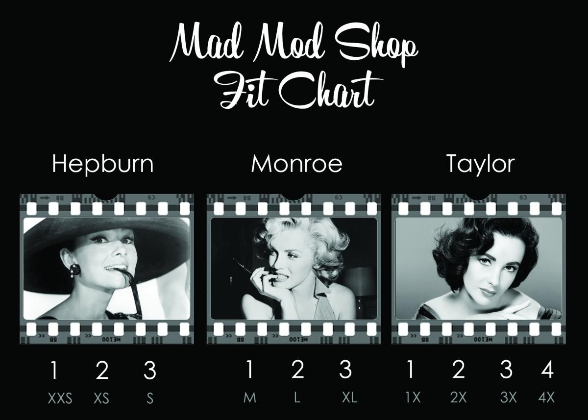 Mad Mod Shop Size Chart.