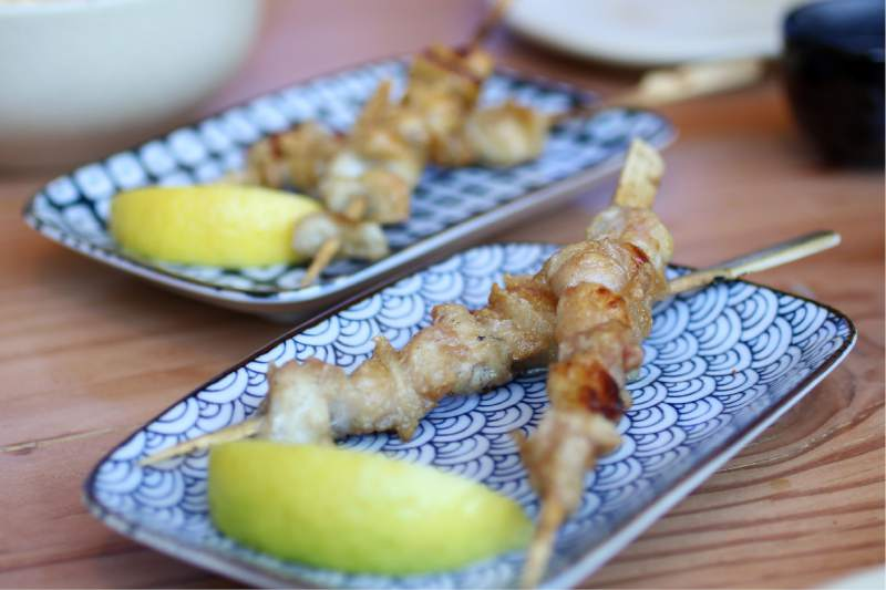 Chicken tail yakitori at Miminashi restaurant in Napa. (Heather Irwin / The Press Democrat)