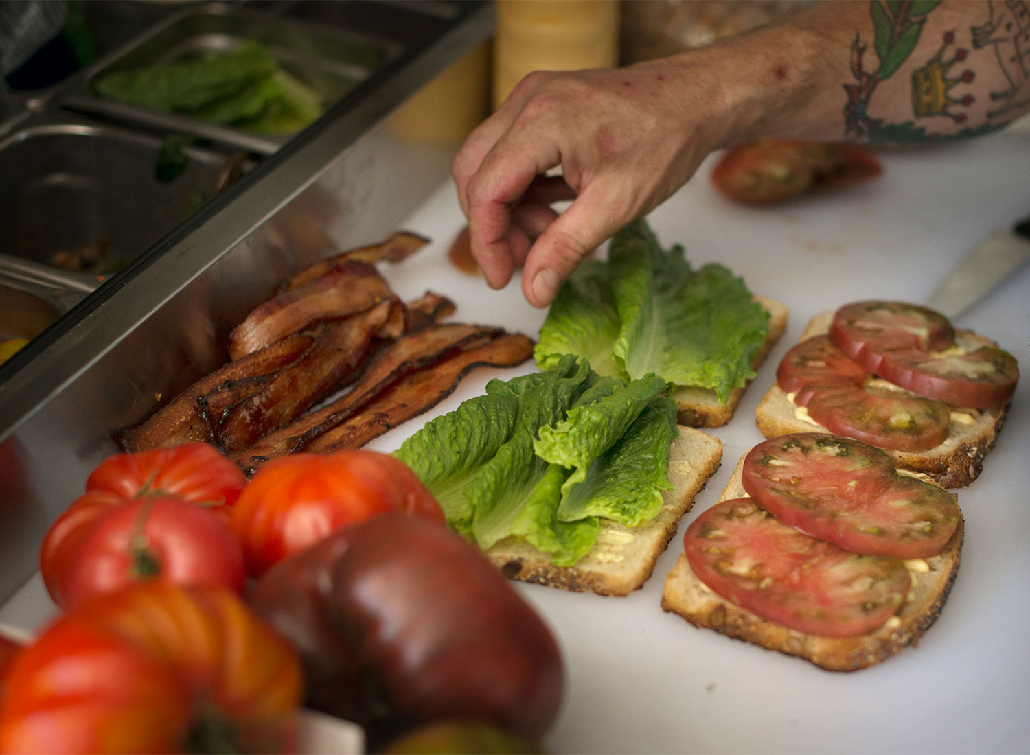 Prepping BLTs at Davis Family WInery in Healsburg. The Black Piglet opens this week. PD File
