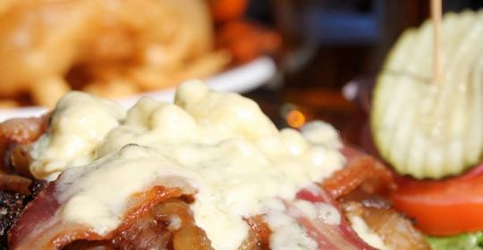 """Black & Bleu"" cajun spiced Burger at Thirdstreet AleWorks."