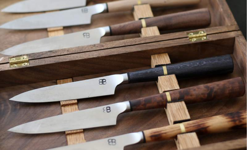 Custom made Japanese knives will be used by diners at Single Thread Farms restaurant in Healdsburg. (Heather Irwin/The Press Democrat)