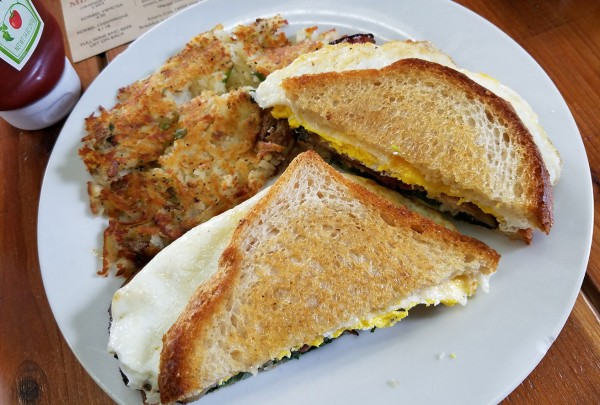 Breakfast sandwich and hash browns at the Estero Cafe. Heather Irwin