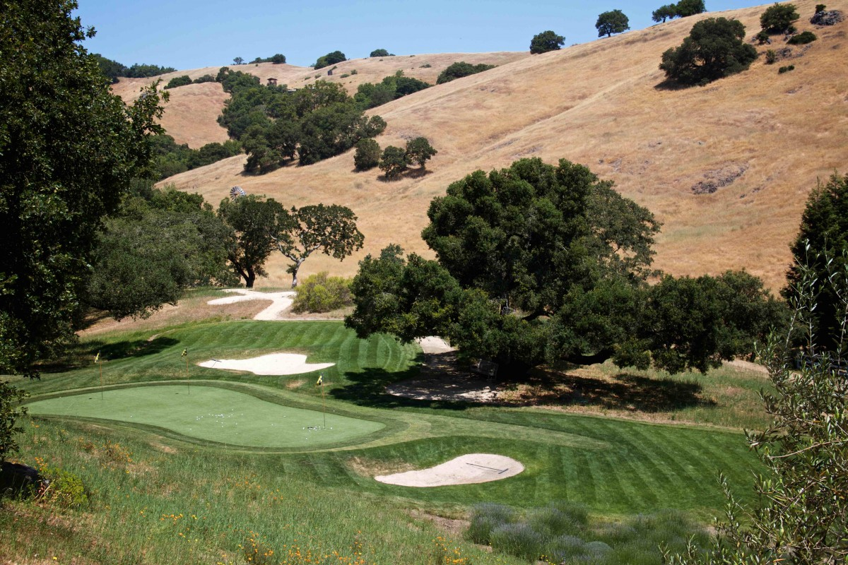 The Lovall Valley's unusually cool climate offers unique circumstances for growing grapes and pleasant weather for hitting some golf balls. (Photo Courtesy of Grieve