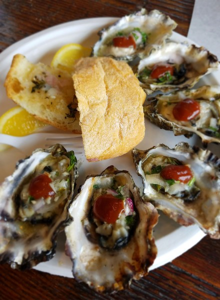 Grilled oysters at Fisherman's Cove in Bodega Bay Sonoma Coast 6/16. Heather Irwin
