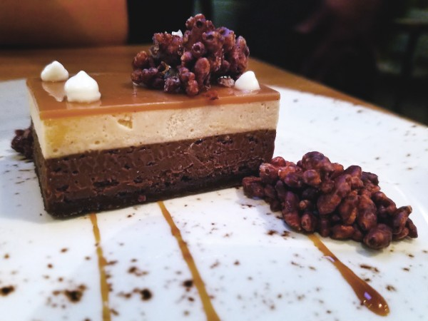 Dessert of Sour creme mousse, chocolate crispies, ganache at The County Bench in Santa Rosa, 6/1/16. Heather Irwin, PD