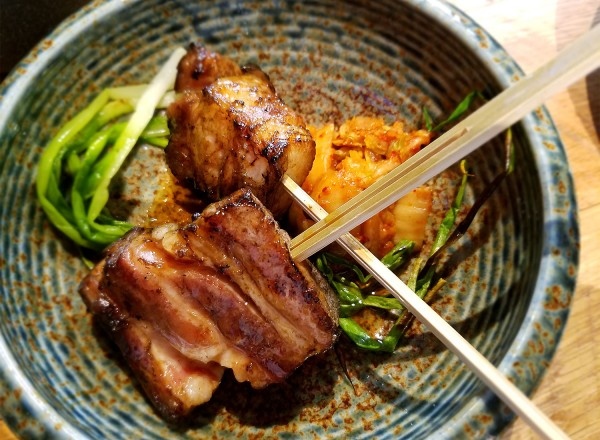 Pork belly yakitori at Two Birds One Stone in st. helena, a project of Chefs Douglas Keane and Sang Yoon. Heather Irwin/PD
