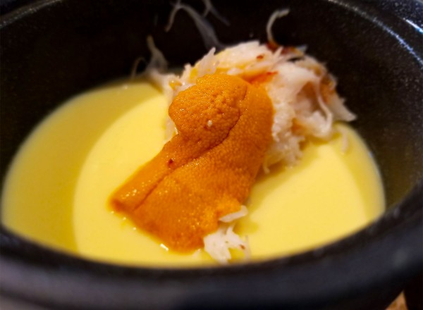 Duck Egg Custard with uni and crab at Two Birds One Stone in st. helena, a project of Chefs Douglas Keane and Sang Yoon. Heather Irwin/PD