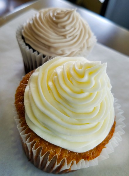 Chai tea and lavendar cupcakes at Zephyr Chocolates pop-up at East Wind Bakery in Santa Rosa.