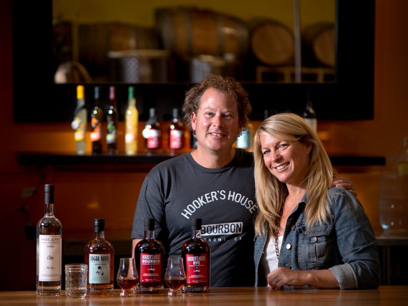 Fred and Amy Groth at Prohibition Spirits distillery in Sonoma, which is also home to HelloCello Limoncello di Sonoma. (Photo / Alvin Jornada)