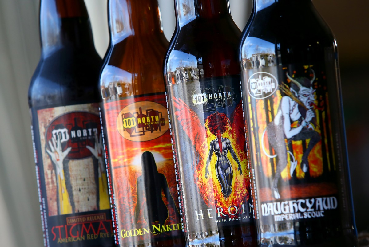A variety of 101 North Brewing Company beers. (Photo by Christopher Chung/ The Press Democrat)