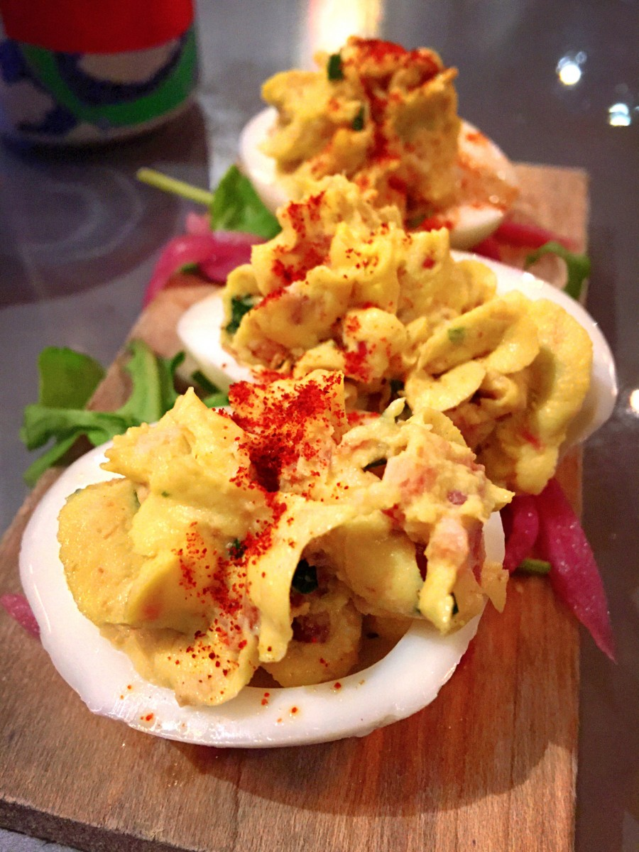 Deviled eggs at Fogbelt Brewing in Santa Rosa (Heather Irwin / The Press Democrat)