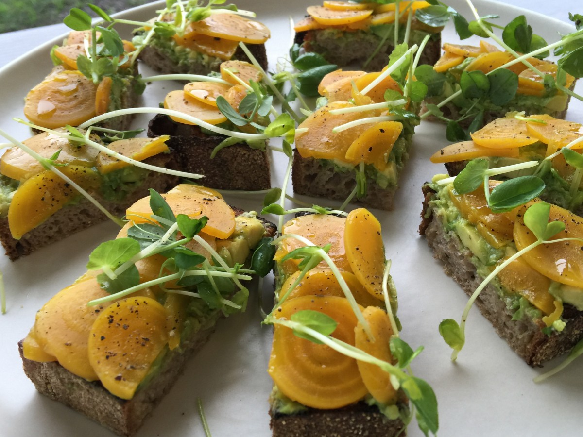 Sliced beets, avocado and pea shoots on rEvolution Bread at The Pharmacy Cafe in Santa Rosa. (Heather Irwin / The Press Democrat)