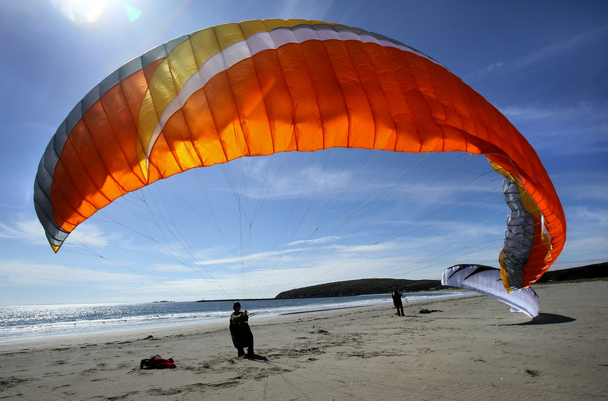 practice paragliding at Doran Beach Regional Park on Tuesday morning