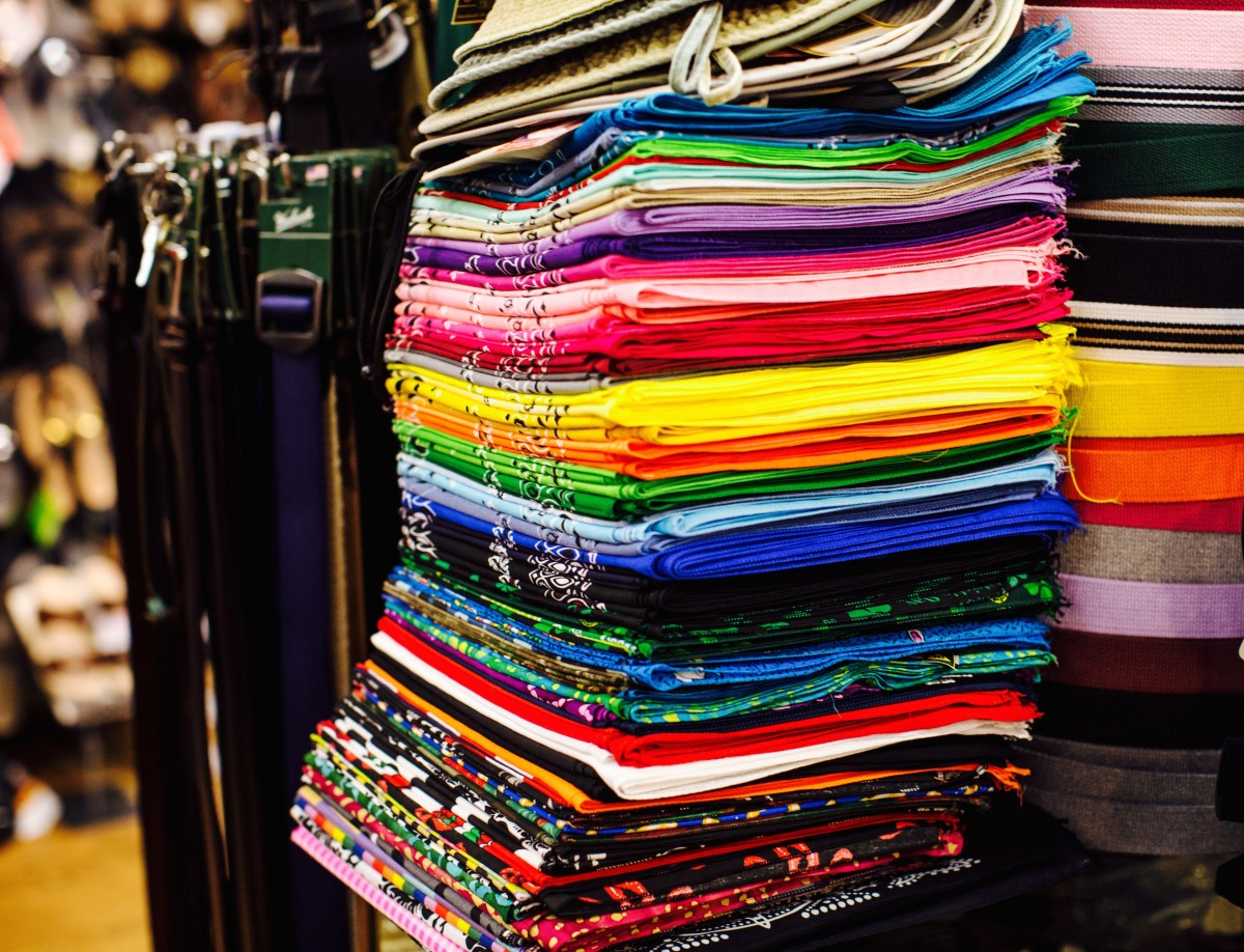 A rainbow of bandanas