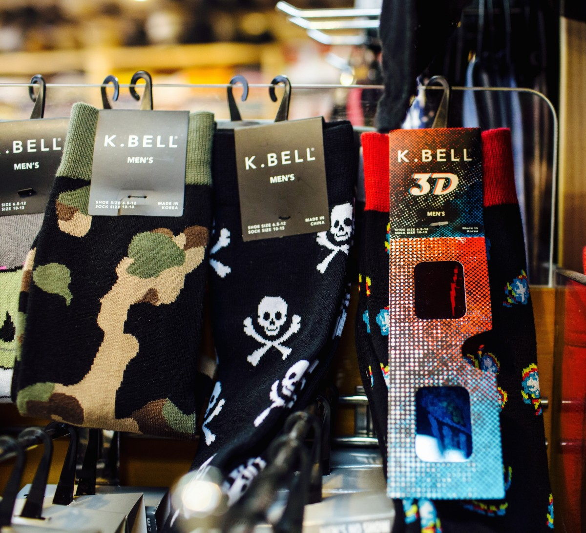 Silly socks for men and women, including a pair that comes with 3D glasses!