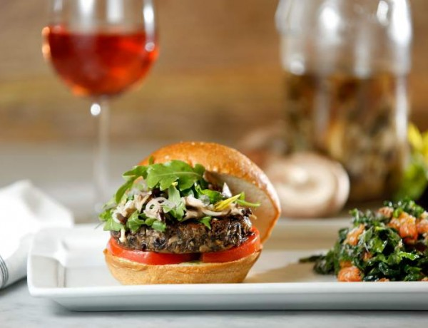 For the Blended Burger Project, Catelli's Chef/Owner Domenica Catelli came up with a burger patty that is a 50-50 mix of house-ground beef and a blend of shiitake, cremini and dried porcini mushrooms, served with her Easy Kale Salad.