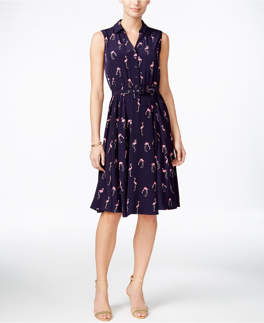 Charter Club Flamingo Shirt Dress
