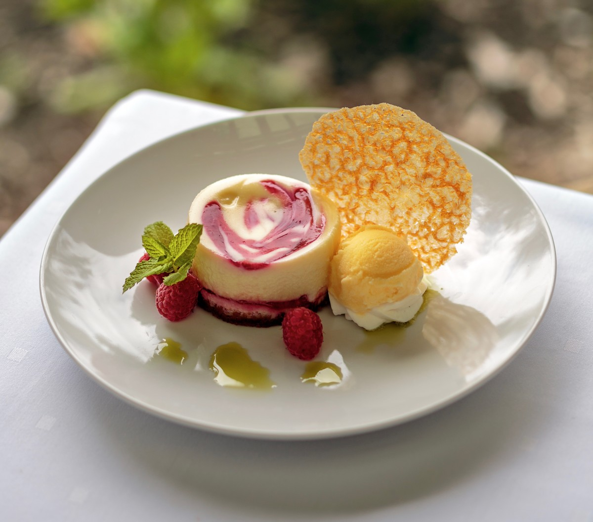 Casey Stone is known for his gorgeous cheesecakes, including this raspberry version.