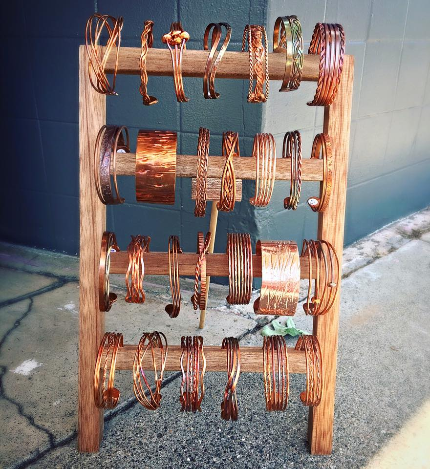 Copper bracelets by local artist, available at Perle in Sonoma