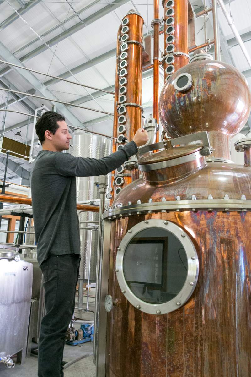 "Chris Hanson opens the door to on the vodka ""bubble top"" at the Hanson Distillery in Sonoma."