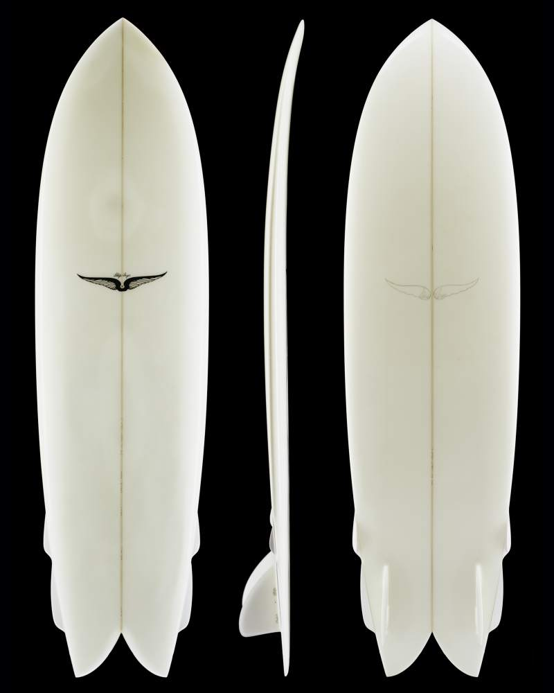 "6'9"" x 21.25"" x 2.50"". A longfish collaboration between Skip Frye(board), Stanley Pleskunas(fins), and Larry Gephardt(side-bites), 2004. Made of polyurethane foam, fiberglass, pvc foam, and pvc. Collection of Skip Frye."
