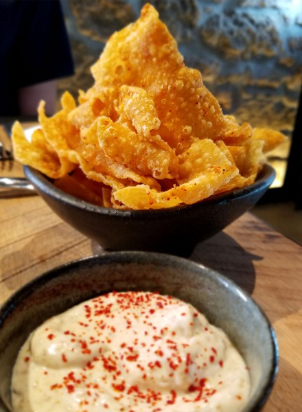Won ton chips at Two Birds One Stone, opened by chefs Douglas Keane and Sang Yoon in St. Helena, Napa. Heather Irwin.