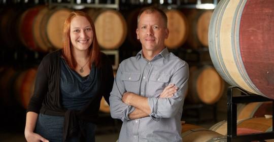 Angeline winemaker Bill Batchelor and assistant winemaker Lindsey Haughton.
