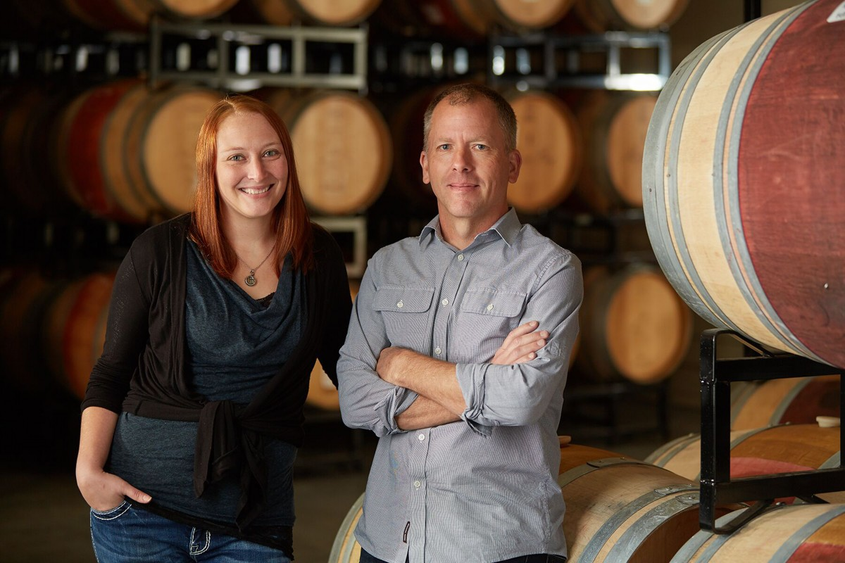 Angeline winemaker Bill Batchelor and assistant winemaker Lindsey Haughton.