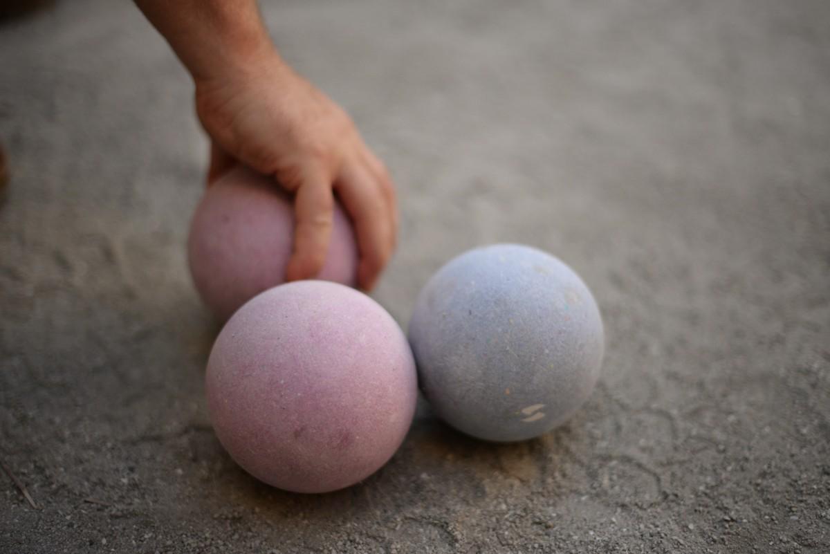 Bocce balls on the court at Campo Fina restaurant in Healdsburg. May 9, 2015. (Photo: Erik Castro/for The Press Democrat)