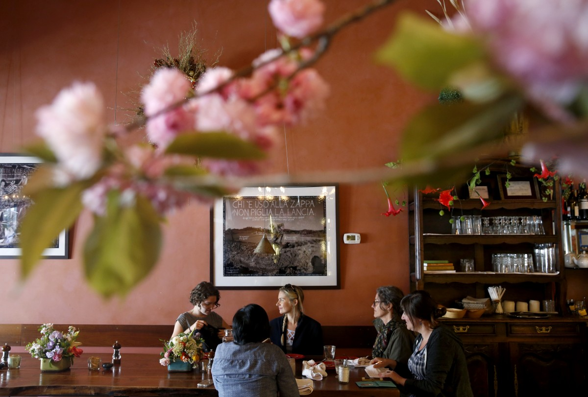 A group of ladies dine at Della Fattoria in Petaluma, on Monday, April 4, 2016. (BETH SCHLANKER/ The Press Democrat)