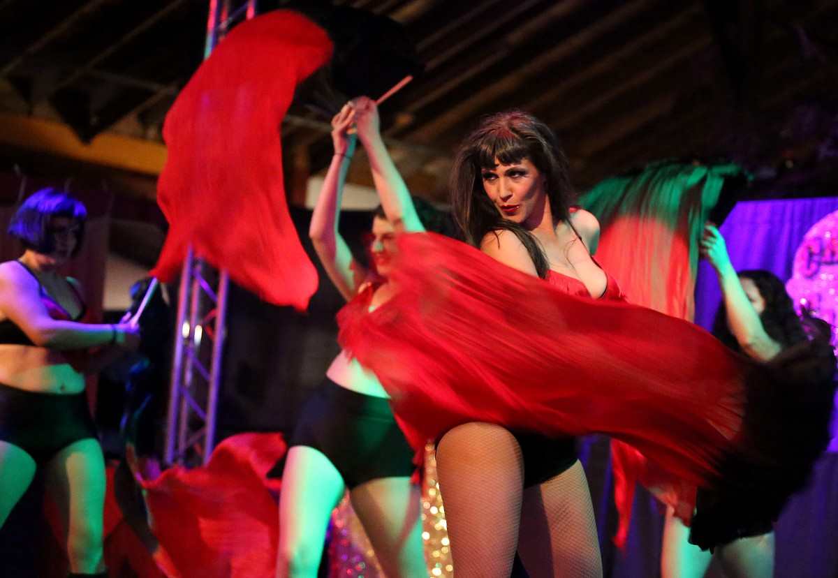 Eva D'Luscious, of Cabaret de Caliente, performs with the Sonoma Show Girls during the Whole Lotta Love Burlesque show (Photo by Crista Jeremiason)