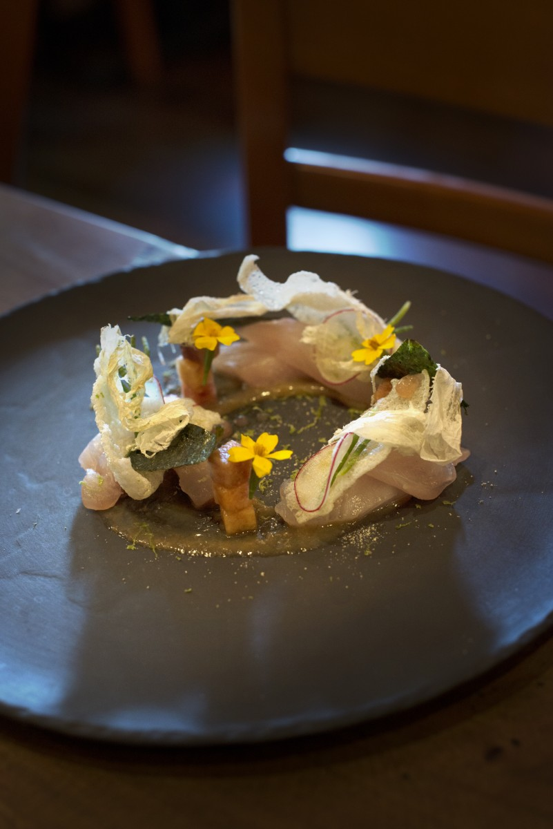 Shima Aji with stone fruit, pickled salted plum, kombu, and rice cracker at Rancho Nicasio Bar and Restaurant in Nicasio, California, August 13, 2016. (Photo: Erik Castro/for The Press Democrat)