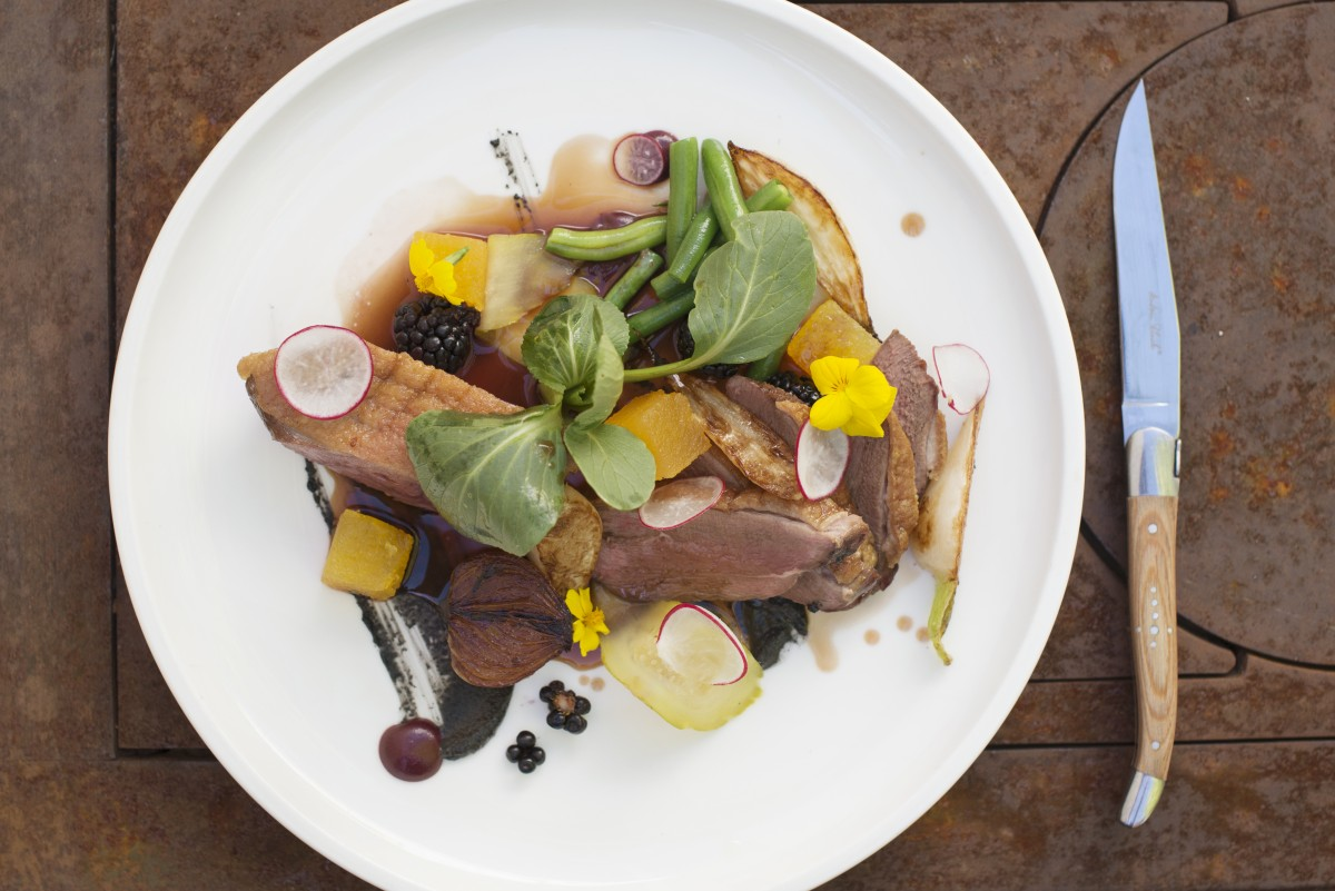 Sonoma County Poultry duck breast served with blackberry and watermelon salad at Rancho Nicasio Bar and Restaurant in Nicasio, California, August 13, 2016. (Photo: Erik Castro/for The Press Democrat)