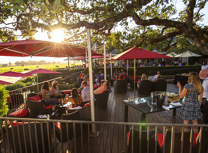 The oak terrace at Mumm Napa. (Photo Courtesy Mumm Napa)
