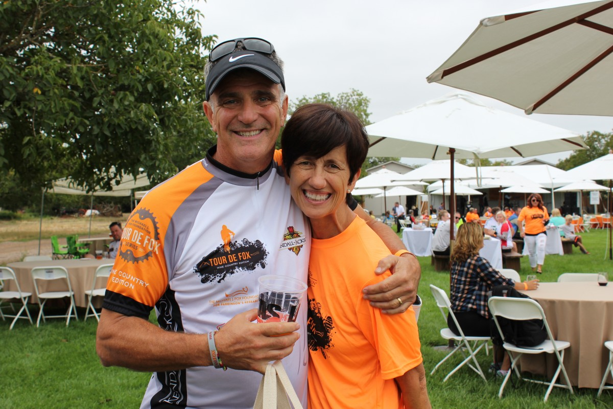 Rick Tigner, organizer of Tour de Fox Wine Country, and Wendy Tigner, enjoy the