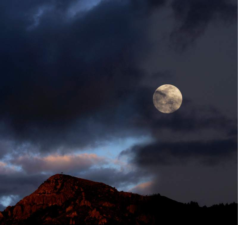 Sunset and moon rise illustration Mount St. Helena from Ida Clayton Road.