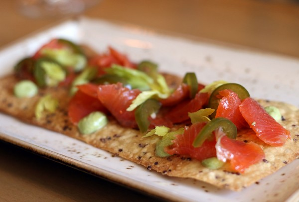 Quinoa cracker with salmon and serranos at The County Bench in Santa Rosa. Heather Irwin/PD
