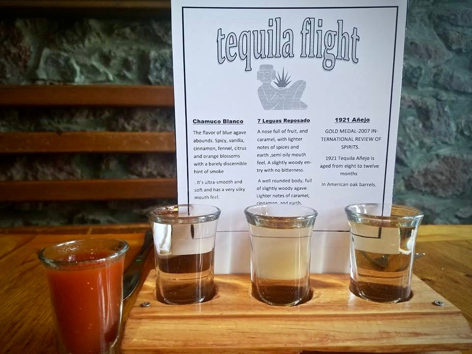 Tequila flight of the week Chamuco Blanco- 7 Leguas Reposado-1921 Añejo, 100% Blue agave tequilas served with a shot of sangrita