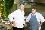 Chefs Charlie Palmer and Scott Romano at Dry Creek Kitchen in Healdsburg. Photo: Paige Green.