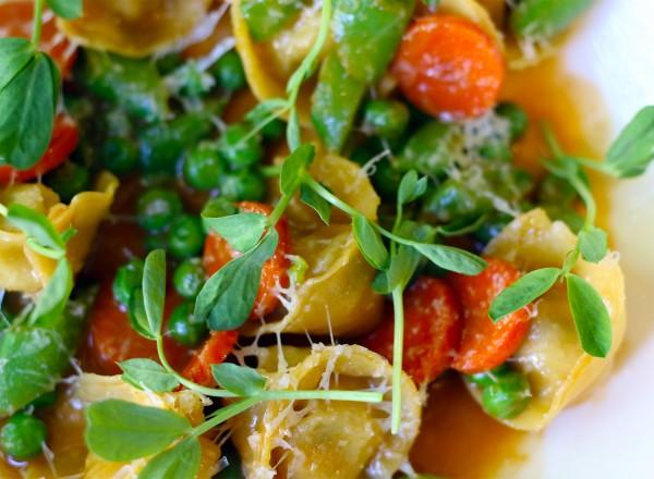 Oz Family Farm Rabbit Tortellini with Pea Variations, Carrot and Shaved Pecorino. Heather Irwin/PD